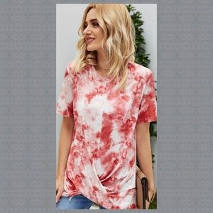 NEW! FRONT TWIST RED TIE DYE TOP IN SIZE LARGE